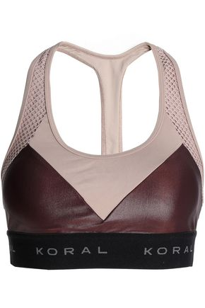 KORAL Mesh-paneled two-tone stretch sports bra