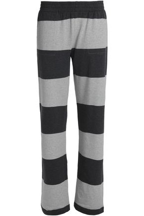 NORMA KAMALI Striped stretch-cotton jersey track pants