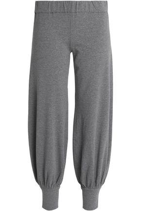 NORMA KAMALI Mélange slub-jersey cotton track pants