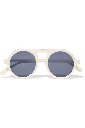 WOMAN FALABELLA ROUND-FRAME ACETATE SUNGLASSES CREAM