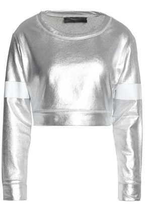 NORMA KAMALI Cropped metallic-coated cotton-blend terry top