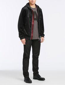 ARMANI EXCHANGE VELVET FULL-ZIP LOGO HOODIE Fleece Jacket Man a