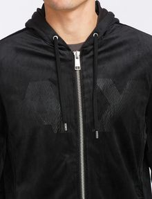 ARMANI EXCHANGE VELVET FULL-ZIP LOGO HOODIE Fleece Jacket Man e