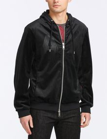 ARMANI EXCHANGE VELVET FULL-ZIP LOGO HOODIE Fleece Jacket Man f