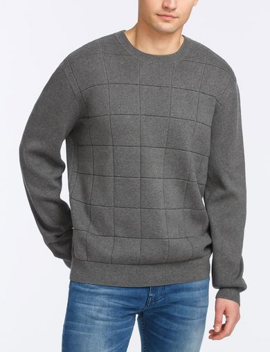 TONAL DIAMOND-STITCH SWEATER