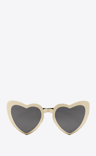 SAINT LAURENT NEW WAVE D NEW WAVE 196 LOULOU sunglasses in golden-colored metal, black acetate and gray lenses   a_V4