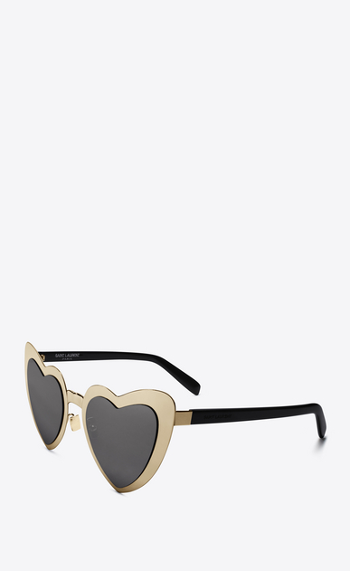 SAINT LAURENT NEW WAVE D NEW WAVE 196 LOULOU sunglasses in golden-colored metal, black acetate and gray lenses   b_V4