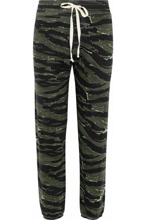 CURRENT/ELLIOTT The Varsity printed cotton-jersey track pants
