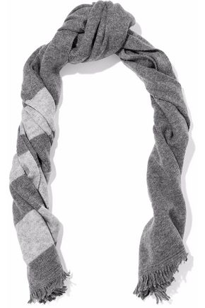 DUFFY Fringed striped wool and cashmere-blend scarf