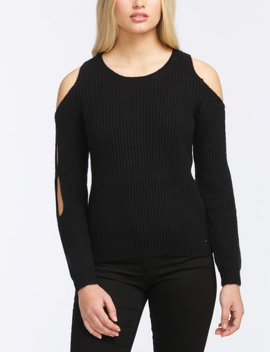 COLD SHOULDER CUTOUT SWEATER