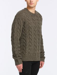ARMANI EXCHANGE WOOL BLEND CABLE CREW SWEATER Pullover Man d