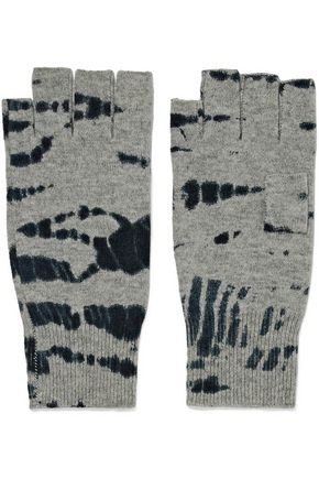 AUTUMN CASHMERE Tie-dye cashmere fingerless gloves