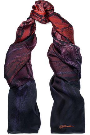 JUST CAVALLI Snake-print silk scarf