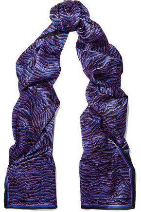 JUST CAVALLI Printed silk-satin scarf