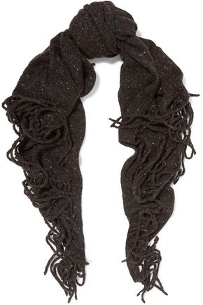 AUTUMN CASHMERE Fringed printed cashmere scarf