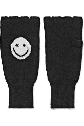 AUTUMN CASHMERE Embellished intarsia-knit cashmere fingerless gloves