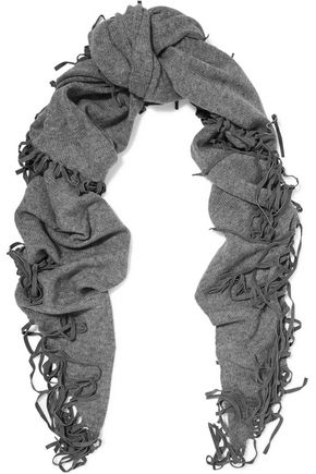 AUTUMN CASHMERE Fringed shearling-trimmed cashmere scarf