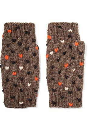 AUTUMN CASHMERE Birdseye bouclé-knit cashmere fingerless gloves