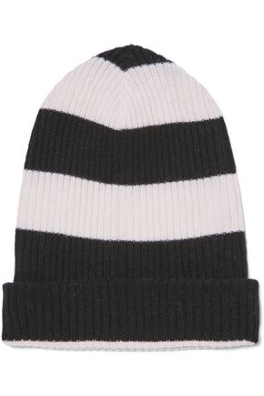 AUTUMN CASHMERE Ribbed striped cashmere beanie