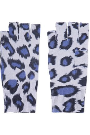 AUTUMN CASHMERE Fingerless leopard-print cashmere gloves