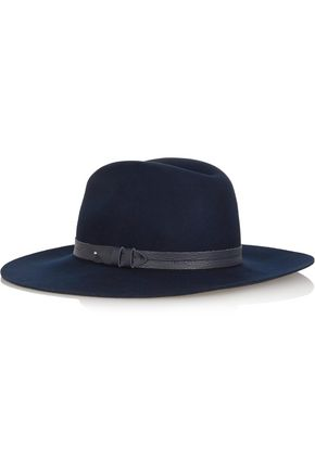 RAG & BONE Textured leather-trimmed wool fedora