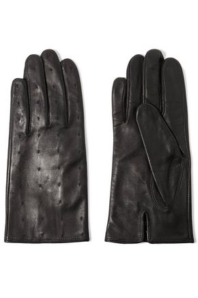 SANDRO Paris Stitched leather gloves