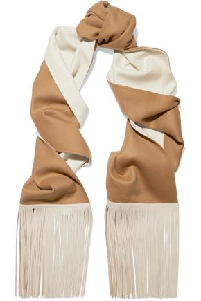 AGNONA Faux leather-trimmed wool scarf