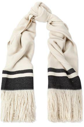 ISABEL MARANT Fringe-trimmed striped cashmere scarf