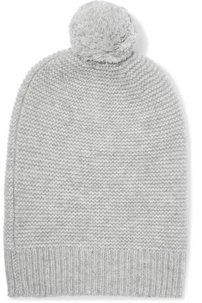 N.PEAL Pompom-embellished ribbed cashmere beanie