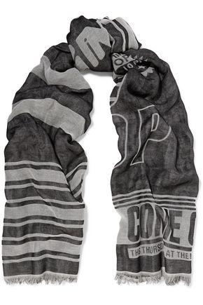 KENZO Frayed jacquard scarf