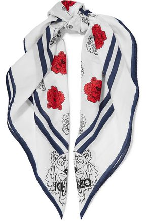 KENZO Printed cotton and silk-blend scarf