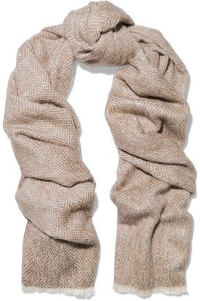 BRUNELLO CUCINELLI Distressed alpaca and wool-blend scarf