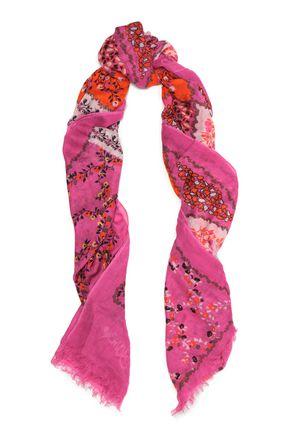 DIANE VON FURSTENBERG Hanovar frayed printed modal-voile scarf