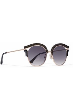 JIMMY CHOO Embellished cat-eye rose gold-tone sunglasses