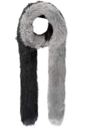 CHARLOTTE.SIMONE Candy Cane two-tone faux fur scarf