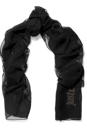 JUST CAVALLI Embellished silk-chiffon scarf