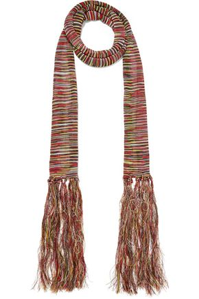 SANDRO Paris Amber fringed crochet-knit scarf