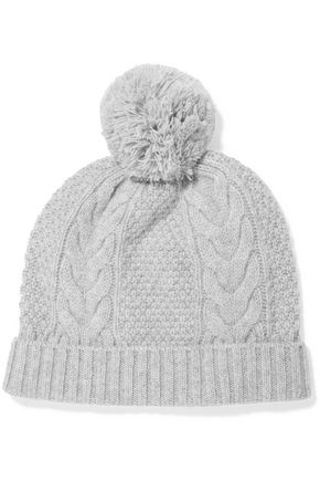 N.PEAL Pom pom-detailed cable-knit cashmere beanie