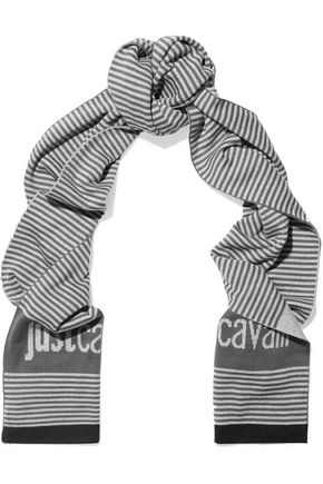 JUST CAVALLI Striped wool-blend scarf