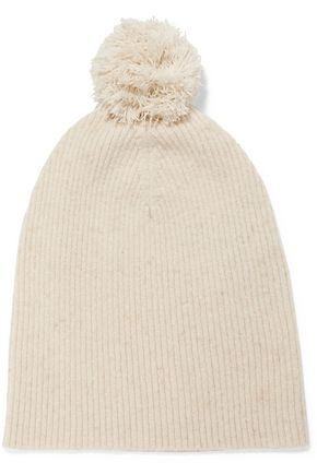AUTUMN CASHMERE Pom pom-detailed ribbed cashmere beanie
