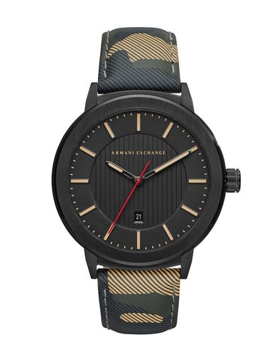 CAMO LEATHER STRAP WATCH