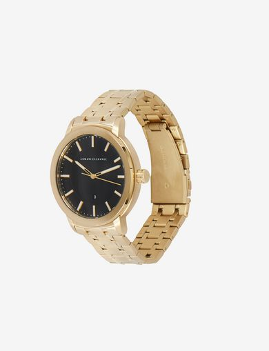 TEXTURED DIAL GOLD-TONE WATCH