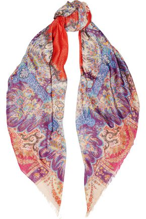 ETRO Paisley-print metallic modal and silk-blend scarf