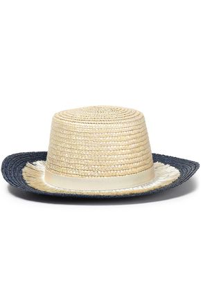 EUGENIA KIM Stevie grosgrain-trimmed fringed woven straw sunhat