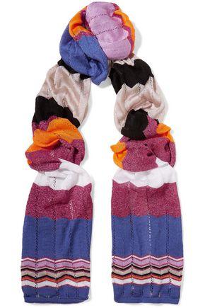 WALT & BROWN Crochet-knit cotton-blend scarf