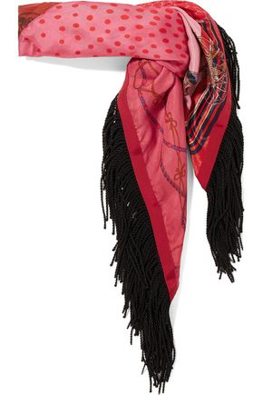 SACAI Fringed printed satin scarf