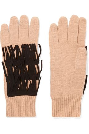 AUTUMN CASHMERE Suede-trimmed fringed cashmere gloves