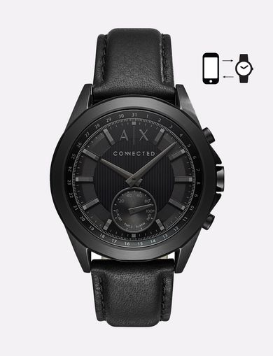 BLACK HYBRID LEATHER BAND WATCH