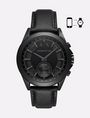 ARMANI EXCHANGE BLACK HYBRID LEATHER BAND WATCH Watch E f