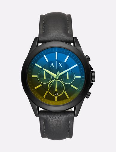 GRADIENT CHRONO LEATHER STRAP WATCH